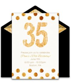 """One of our favorite free birthday party invitations, """"Golden Easily personalize and send via email for a memorable milestone birthday party! 75th Birthday Invitations, 75th Birthday Parties, 10th Birthday, Birthday Ideas, Birthday Lunch, Golden Birthday, Birthday Decorations, Online Invitations, Party Ideas"""