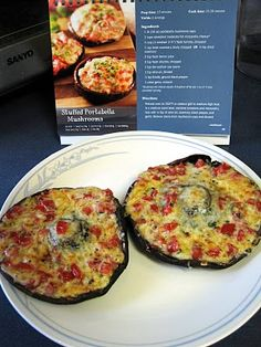 Stuffed Portobello Mushrooms from the Medifast Lean & Green Cookbook. YUMM-O!!!