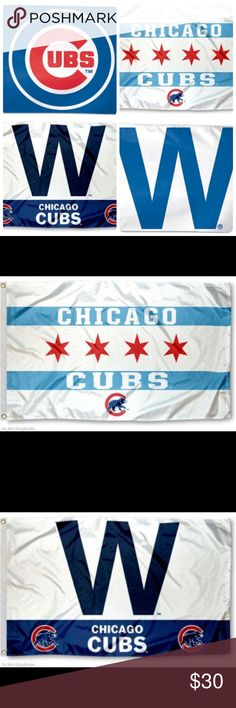 """Chicago Cubs House Flag Collection (4 Flags) Brand new bundle of 4 different Chicago Cubs House Flags! This set includes two variations of the Cubs """"W"""" WIN flag, the """"City of Chicago"""" flag, and the blue Cubs logo flag. These are 3ft by 5ft and are made of 100% polyester. Please check my closet for more Cubs merchandise including jerseys for Men, Women and Kids! Jake Arrieta. Kris Bryant. Anthony Rizzo. Kyle Schwarber. Addison Russell. Javier Baez. I've got em! Accessories"""
