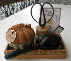 Antique sewing notions trinket box by cornbreadandbeans on Etsy. $40.00, via Etsy.