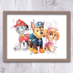 Paw Patrol watercolor poster Paw Patrol art by ColorfulPoster