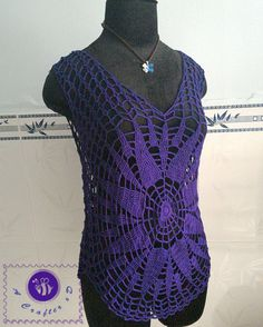 Crocheted lacy tee ( size L ) - free worldwide shipping - pinned by pin4etsy.com
