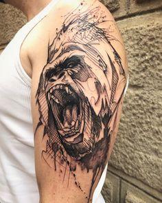 #gorilla #angry #animaltattoo #armtattoo #graphictattoo L'oiseau Peintre et tatoueur au faubourg Tattoo Club. Collioure. Contact: loiseautattoo@gmail.com gmail.com