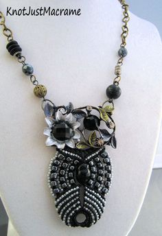 Beaded Macrame Owl Pendant Necklace in Elegant by KnotJustMacrame, $44.99