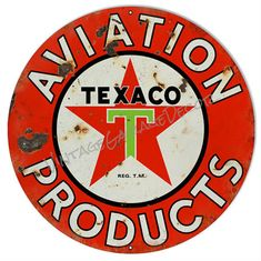 """Vintage Style """" Texaco Aviation Products """" Round Metal Sign, Rusted $25.00+"""
