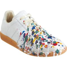 Maison Martin Margiela Paint Splatter Low Top ($209) ❤ liked on Polyvore featuring shoes, sneakers, white suede shoes, white low top sneakers, maison margiela shoes, low top and low profile sneakers