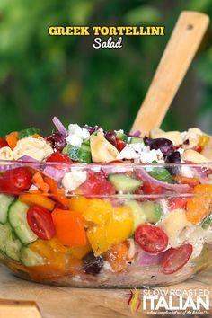 Greek Tortellini Salad - loaded with fresh veggies and tortellini pasta.  #salad #pasta #greek @SlowRoasted Greek Tortellini Salad, Greek Pasta, Pasta Salad With Tortellini, Veggie Pasta, Vegetable Salad, Pasta Salad For Kids, Penne Pasta, Fruit Salad, Salad Bar
