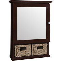 Glacier Bay 19-3/4 in. x 27-3/4 in. Framed Surface-Mount Bathroom Medicine Cabinet with 2 Baskets in Java-S2027B-JAV - The Home Depot