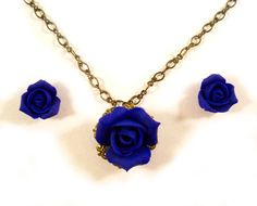 Rose Bud Necklace Earrings Set