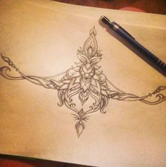 Image result for filigree tattoo between the breasts