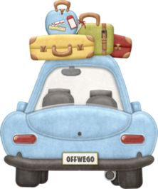 Blue Car With Luggage