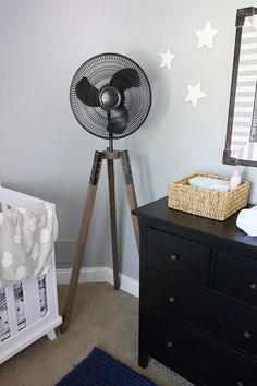 I had this hair brained idea for an industrial tripod fan years ago and I just could never figure out how I was gonna do it until two weeks ago and NOW IT IS AMAZING AND BEAUTIFUL AND I WANT ONE IN EVERY ROOM IN MY HOUSE. Sorry for popping a caps lock on y'all….I'm …