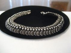 Fine Vintage Hand Made Balinese Sterling Silver Beaded Coil Bracelet