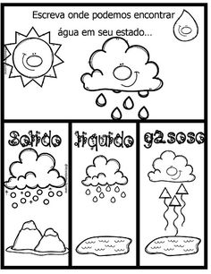 Professora Tati Simões French Education, Water Cycle, Life Cycles, Math Lessons, Preschool Crafts, Fun Learning, Social Studies, Coloring Books, Back To School