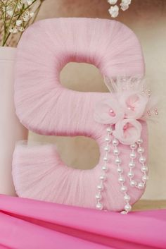 Could be a prop at the baby shower and then displayed in her room later? Tutu Baby Shower: Tulle Letter Nursery Decor Gift A blue 1 would work for her birthday :) Shower Party, Baby Shower Parties, Baby Shower Gifts, Baby Gifts, Baby Shower Princess, Baby Princess, Ballerina Baby Showers, Ballerina Party, Tulle Baby Shower