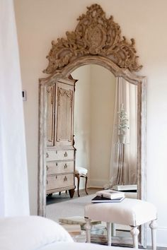 Mirrors – Home Decor :     Love the ornate carvings! / French style bedroom    -Read More –