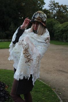 www.nadinsmo.com Hand felted pure merino wool huge ,white scarf wrap and hand felted hat by Nadin Smo design