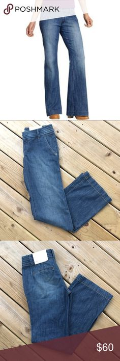Ann Taylor Loft Wide Leg Trouser Jeans Size 2 Ann Taylor Loft iconic celebrity wide leg modern trouser jeans! These jeans are awesome!! I have them in a 6!! Great summer staple. Size 2, regular length. No trades, thank you. GORGEOUS!! Ann Taylor Jeans Flare & Wide Leg
