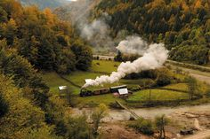 Steam in the Carpathian Mountains Carpathian Mountains, Autumn Colours, Steam Locomotive, North West, Ukraine, Trail, Europe, Leaves