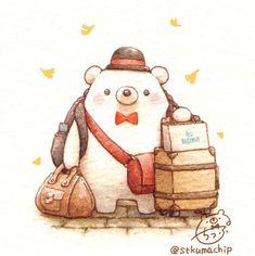 Cute Animal Drawings, Kawaii Drawings, Cute Drawings, Kawaii Illustration, Bear Art, Cute Chibi, Kawaii Art, Cute Bears, Cute Characters