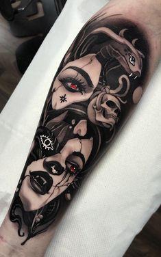 75 Fotos de tatuagens femininas no braço - Fotos e Tatuagens Creepy Tattoos, Dope Tattoos, Anime Tattoos, Black Tattoos, Body Art Tattoos, New Tattoos, Tattoos For Guys, Chicanas Tattoo, Tattoo Drawings