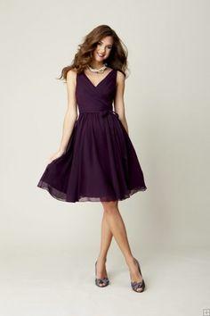 Pretty Knee Length Pleated Bodice Rustic Chiffon Bridesmaid Dress, Purple Bridesmaid Dress Uk