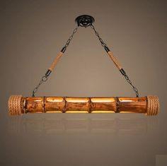 Loft Style Hemp Rope Bamboo Tube Droplight LED Pendant Light Fixtures For Dining Room Hanging Lamp Vintage Industrial Lighting