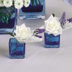 Small Cube Vase Arrangement - Muscari and 'Akito' Rose