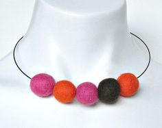 felt ball necklace, bright coloured chunky necklace, winter fashion ...