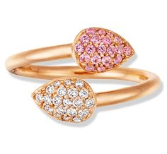 Color Candy Bypass Pear-Shape ring with Pink Sapphire and Diamonds in Rose Gold by Jane Taylor