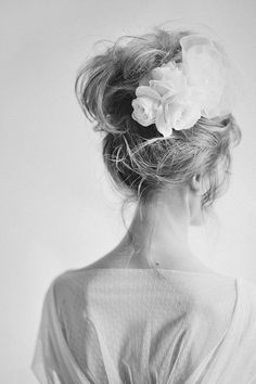 Flower girl, messy bun. This up do is very casual and relaxed so why not use accessories to glam it up for any occasion.