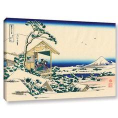 ArtWall Katsushika Hokusai Tea House at Koishikawa, the Morning After a Snowfall Gallery Wrapped Canvas, Size: 24 x 36, Blue