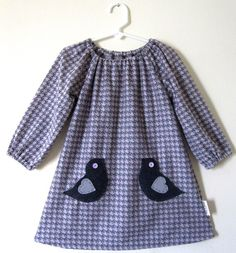 Long sleeve Children's Corner Pattern Jane with bird pockets