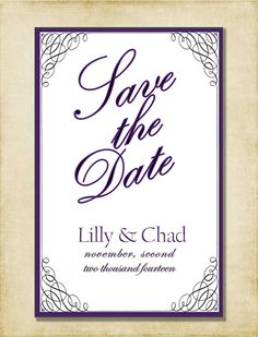 Save The Date Black White & Plum Swirl by AshleyMartinDesigns, $5.00
