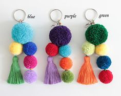 Pom Pom Bag Keychain, Tassel Bag Charm, CHOOSE YOUR COLOR, Keychain, Pom Pom Bag Tassel Keychain, Gift for Her, Gift mom, Handbag Charm