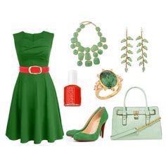 Green Dress w/ Red Belt