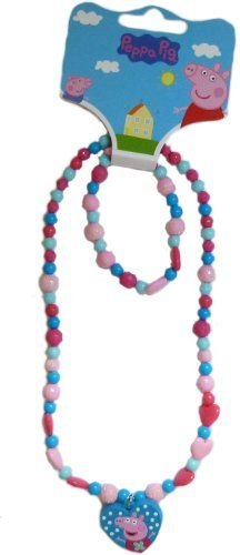 Peppa pig necklace and bracelet set - http://www.cheaptohome.co.uk/peppa-pig-necklace-and-bracelet-set/
