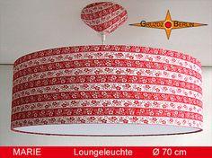 Loungeleuchte MARIE, Ø 70 cm Pendellampe mit Diffusor und Baldachin. Ein geblümter Ringelstreifen in Rot - Weiss im Retro-Design der 70er Jahre der Freude bringt.