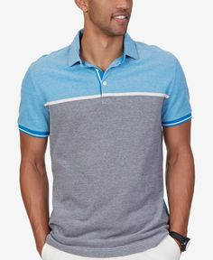 Nautica Men's Grid Colorblocked Stripe Polo