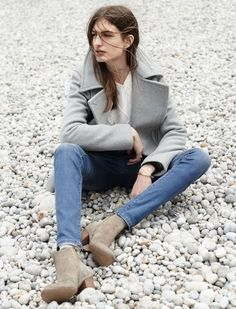 Peacoat, skinny denim and ankle boots