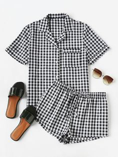 Shop Piping Detail Gingham Blouse And Shorts Pajama Set online. SheIn offers Piping Detail Gingham Blouse And Shorts Pajama Set & more to fit your fashionable needs. Cute Sleepwear, Cotton Sleepwear, Sleepwear Women, Pajamas Women, Pajama Outfits, Pajama Shorts, Cute Outfits, Cute Pjs, Cute Pajamas