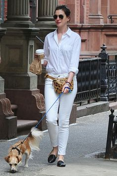 Hathaway looks totally fresh braving an all-white look, plus she proves a fanny pack can, in fact, be fashionable in a cool texture or print.