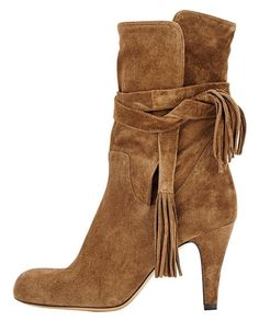Guoar Women's Low Mid Heel Shoes Bootie Big Size Fringe Pointed Toe Strappy Ankle Boots for Wedding Party Dress Brown UK 12