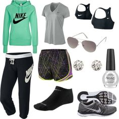 """Teal Nike"" by peyton-brown on Polyvore"