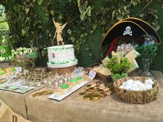 Themed dessert table at a fairy pírate birthday party! See more party planning ideas at CatchMyParty.com!