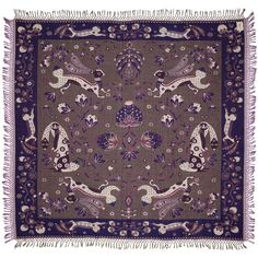 Klaus Haapaniemi creates ornate textiles that are influenced by Finnish folklore and nature. The work is a modern twist on traditional decorative art. Traditional Decorative Art, Large Rabbits, Home On The Range, Shades Of Purple, Purple Grey, Home Decor Accessories, Surface Design, Art Decor, Pattern Design