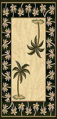 OASIS TROPICAL PALM TREE DESIGN 2X8 AREA RUG CARPET BLACK BEACH COASTAL THEME B4