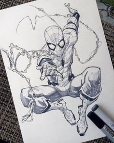 Spiderman Homecoming by rogercruz on DeviantArt Superhero Sketches, Drawing Superheroes, Marvel Drawings, Cartoon Drawings, Cool Drawings, Spiderman Drawing, Spiderman Art, Comic Books Art, Comic Art