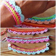 Crochet pattern for a cute colorful bracelet and knitting knit knitting crochet diy Love Crochet, Learn To Crochet, Diy Crochet, Crochet Crafts, Yarn Crafts, Crochet Projects, Simple Crochet, Crochet Ideas, Crochet Hooks