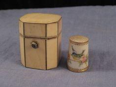 ANTIQUE GEORGIAN WORCESTER PORCELAIN THIMBLE & CASE MINIATURE TEA CADDY BOX BIRD in Collectables, Antiques   eBay / GBP 316.00